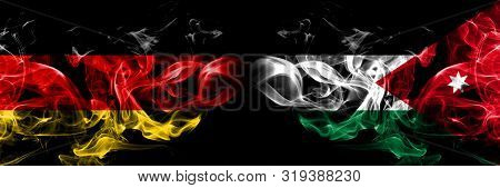 Germany, German, Jordan, Jordanian Smoky Mystical Flags Placed Side By Side. Thick Colored Silky Smo