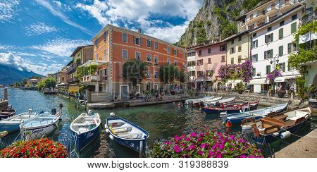 Limone, Lake Garda, Italy, August 2019, A View Of The Small Town Of Limone