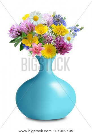 meadow flowers in vase isolated on white background