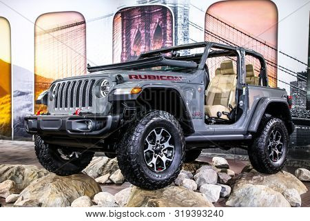 NEW YORK, NY, USA - APRIL 17, 2019: Jeep Wrangler Rubicon at the New York International Auto Show 2019, at the Jacob Javits Center. This was Press Preview Day One of NYIAS