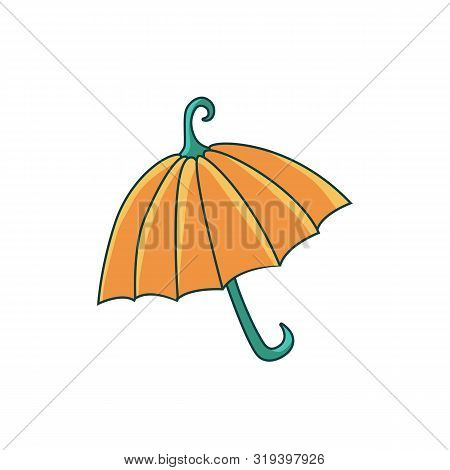 Isolated Hand-drawn Orange Pumpkin Umbrella Illustration On White Background. Creative Halloween Jok
