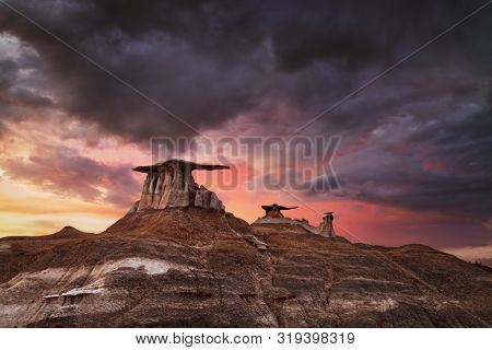 Stone Wings, bizarre rock formations in Bisti Badlands, New Mexico, USA poster