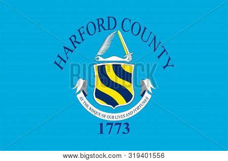 Flag Of Harford County Is A County In The U.s. State Of Maryland. Vector Illustration