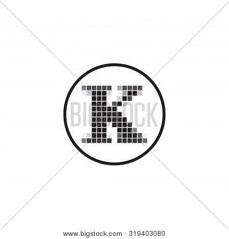K Letter Pixel Motion Logo Design, Square Pixel K Letter Vector Logo Design, Letter K Pixel Logo Des