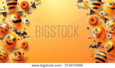 Happy Halloween Trick Or Treat With Halloween Ghost Balloons.scary Air Balloons And Halloween Elemen
