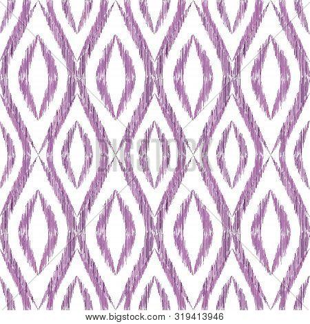 Ikat Ogee Seamless Vector Pattern Illustration. Ethnic Fabric Print Geometric Ikat Pattern. Wavy Oge