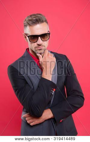 Optics Store. Sunglasses Accessory. Sense Of Confidence Gentlemen. Man Handsome Confident Mature Fas