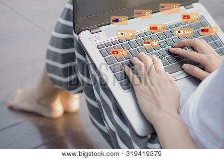 Woman Hands Using Social Network With Laptop, Chat With International