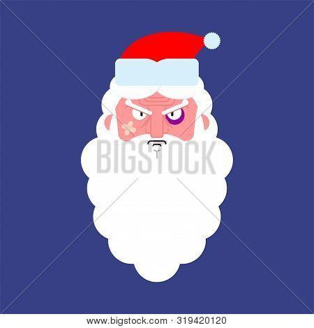 Hooligan Angry Santa Face. Bully Claus. Ruffian Christmas Grandfather. New Year Vector Illustration