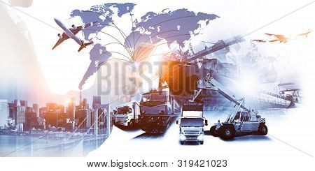 Abstract Image Of Business Man Point To The Hologram On Smartphone And Industrial Container Cargo Fr