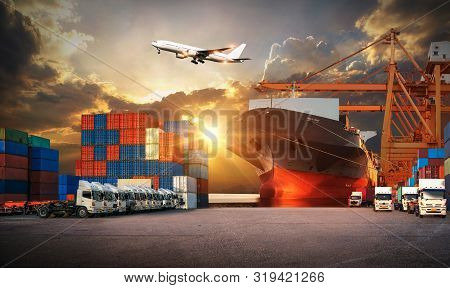 Logistics And Transportaindustrial Container Cargo Freight Ship, Forklift Handling Container Box Loa