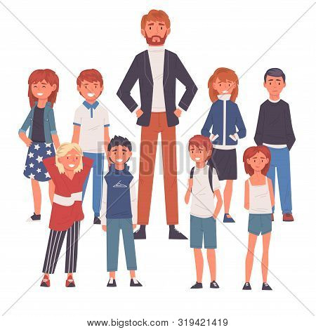 Smiling Male Teacher Standing With Group Of Students Vector Illustration