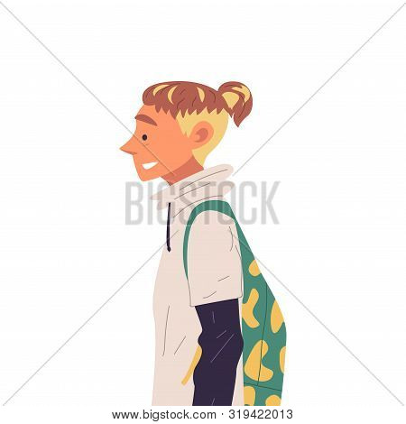 Young Man With Backpack And Fashion Hairdo Side View Vector Illustration True Style