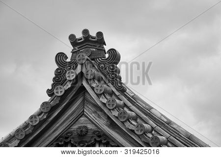 Top Pediment Of The Japanese Style House In Black And White Style