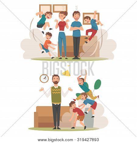 Meditating Parents and Mischievous Children Set, Kids Having Fun at Home, Naughty, Rowdy Children, Bad Child Behavior Vector Illustration poster