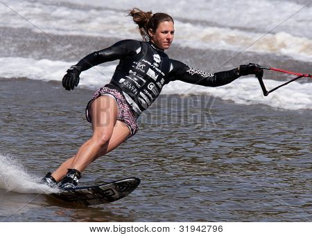 MELBOURNE, AUSTRALIA - MARCH 11: Regina Jaquess of the USA in the slalom event at the Moomba Masters on March 11, 2012 in Melbourne, Australia