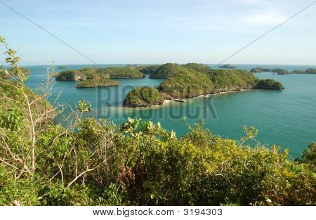 The view from the top of Govenors Island Hundred Islands Resort Philippines. poster