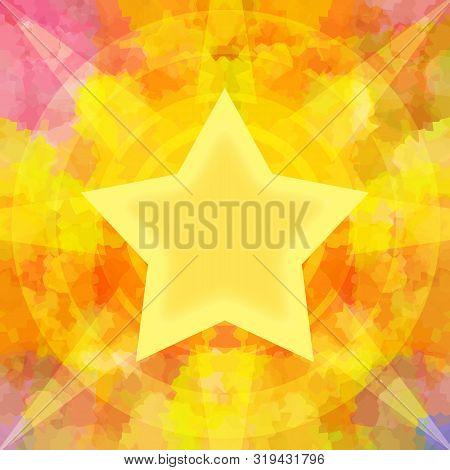 Bright Shining Golden Star On Burning Background