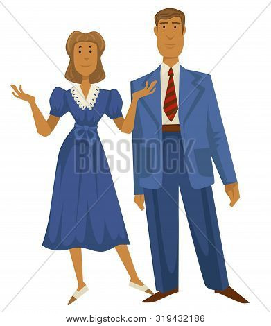 Retro Couple, 1940s Fashion Style, Man In Suit And Woman In Dress