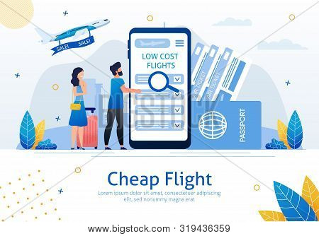 Cheap Flights, Airline Sale Search Mobile App, Airplane Tickets Booking Service Trendy Flat Vector A