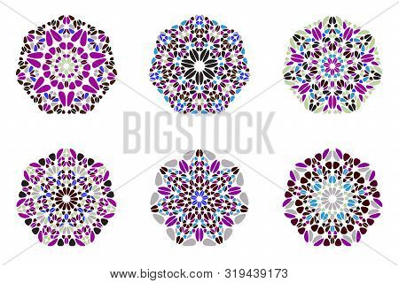 Geometrical Floral Mosaic Ornament Heptagon Symbol Template Set - Colorful Ornamental Abstract Vecto