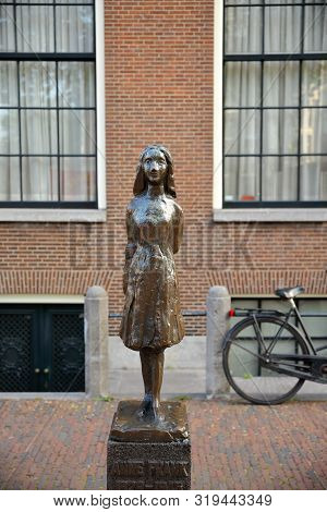 Amsterdam, Netherlands - July 17, 2019: Anne Frank Monument, Located In Front Of Westerkerk Church A