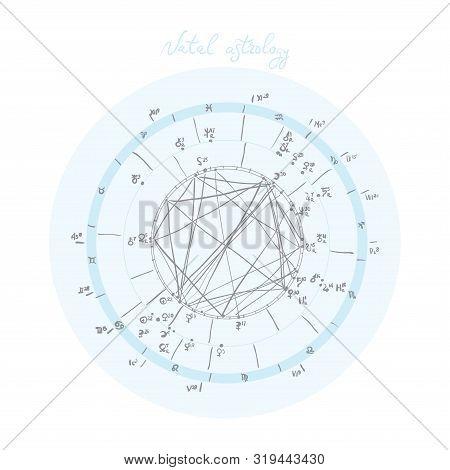 Horoscope Natal Chart, Astrological Celestial Map, Cosmogram, Vitasphere, Radix. Blue White Grey Col