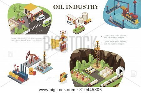 Isometric Oil Industry Composition With Tankers Fuel Station Railway Cisterns Derrick Drilling Rig T