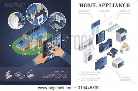 Isometric Home Appliances Concept With Air Conditioner Jalousie Music Center Microwave Toaster Tv Wa