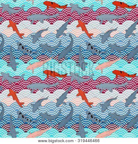 Seamless Pattern Koi Carp Nishikigoi Literally Brocaded Carp Fish. Black Outline Sketch Doodle. Blue