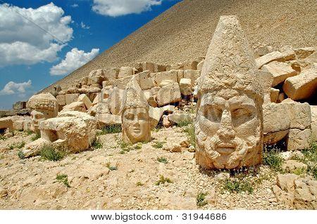 Monumental god heads on mount Nemrut, Turkey poster