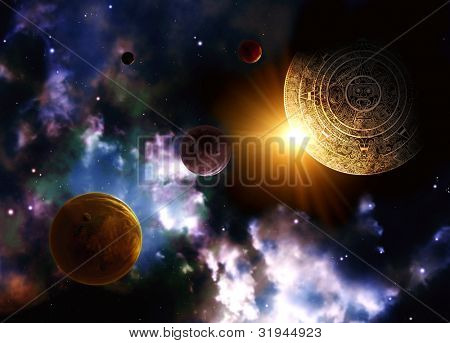 Maya prophecy. Horizontal background with space scene