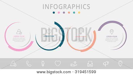 Vector Infographic Flat Template Circles For Four Paper Label, Diagram, Graph, Presentation. Busines