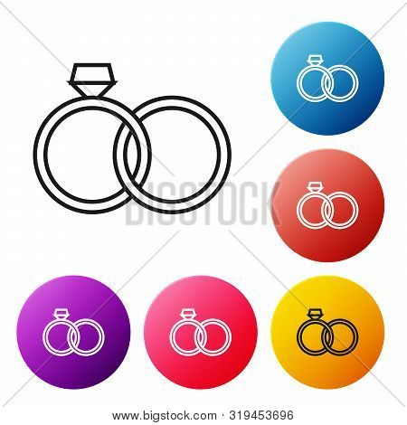 Black Line Wedding Rings Icon Isolated On White Background. Bride And Groom Jewelery Sign. Marriage