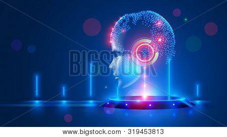 Artificial Intelligence With Virtual Hanging Head On Podium. Global World Cybernetic Mind Controls H