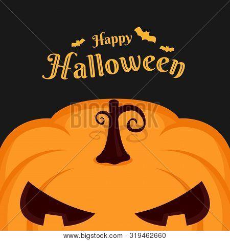 Happy Haloween Banner With Half Big Pumpkin On Dark Background Vector Design
