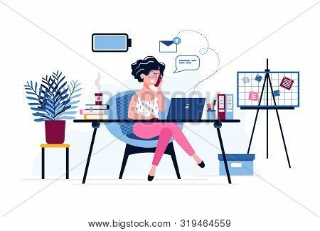 Happy Female Office Worker With A Fully Charged Battery. Successful Businesswoman Uses Laptop, Speak