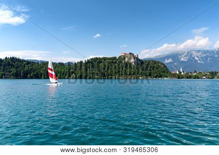 Lake Bled And Bled Castle In Sommer