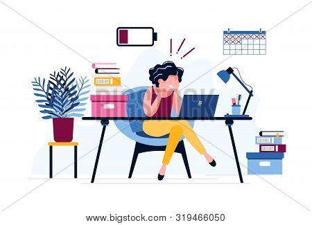 Frustrated Female Office Worker. Exhausted Woman Tired Of The Huge Amount Of Work With A Discharged