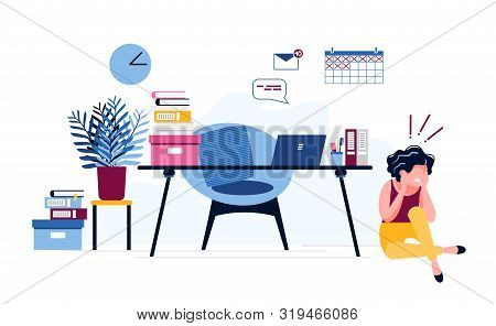 An Exhausted Businesswoman Sits On The Floor Near The Table, Terrified Of A Huge Amount Of Work. Fem