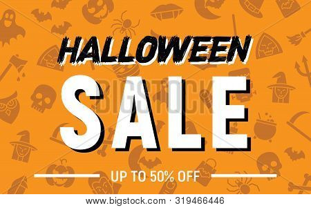 Halloween 50 Percent Sale, Halloween Discount Background, Halloween Offer Banner, Vector Illustratio
