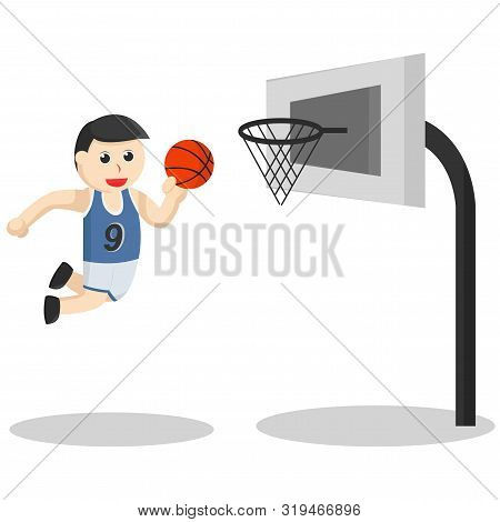 Basketball Player With A Slam Dunk Illustration