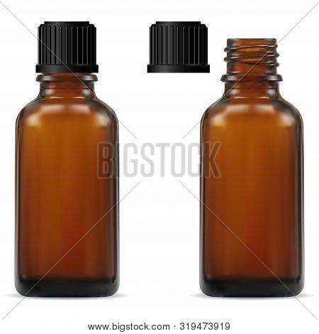 Medical Bottle. Brown Glass Pharmacy Bottle. Realistic Drug Vial Blank. Vitamin Jar Template With Sc