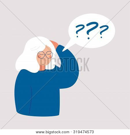Older Woman Has Alzheimer's Disease And A Question Above Her In The Speech Bubble. Loss Of Short-ter