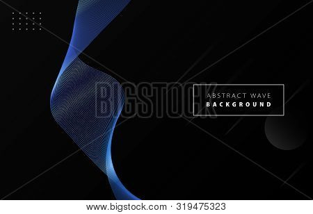 Futuristic Abstract Metal Blue Gradient Wave Line Vector With Memphis On Black Background, Blued Ste