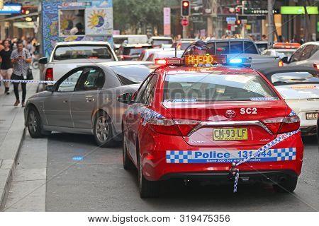 Sydney, Australia - January 31, 2019: Police Intervention In Rush Hour Traffic In Central Sydney, Au