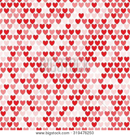 Seamless pattern with rows of red hearts. Repetitive background with red heart. Vector illustration for your graphic design. poster