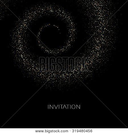 Abstract Background With Gold Swirling Backdrop Glowing Spiral.