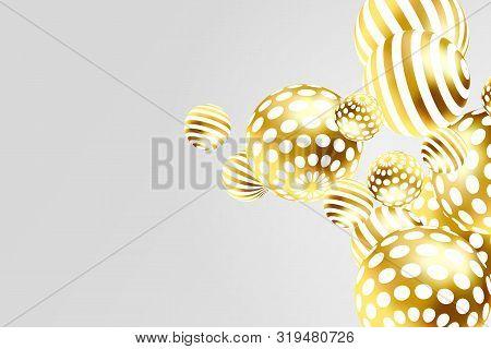 Golden Decorative Balls. Abstract Gold Glitters Vector Illustration.