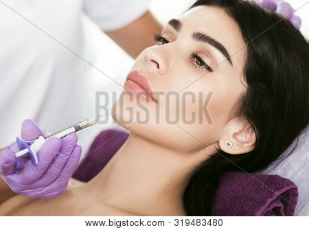 Cosmetic Face Treatment. Beautiful Mid Aged Woman Getting Face Injection, Lifting Effect, Beauty Inj